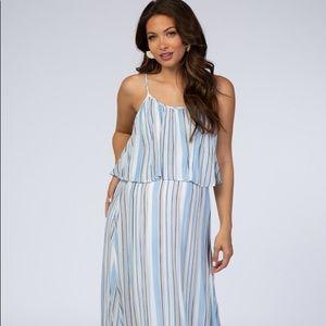 Blue Striped Ruffle Maternity Maxi Dress